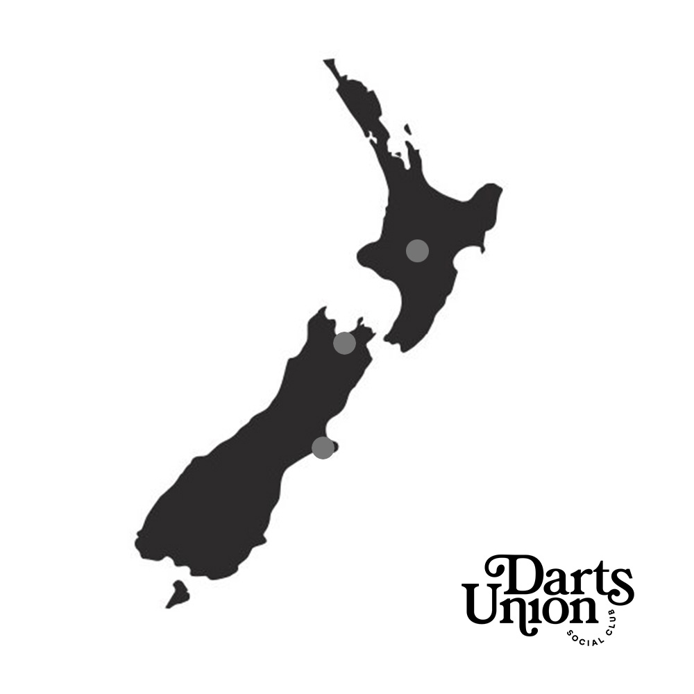 Map of Darts Union in New Zealand